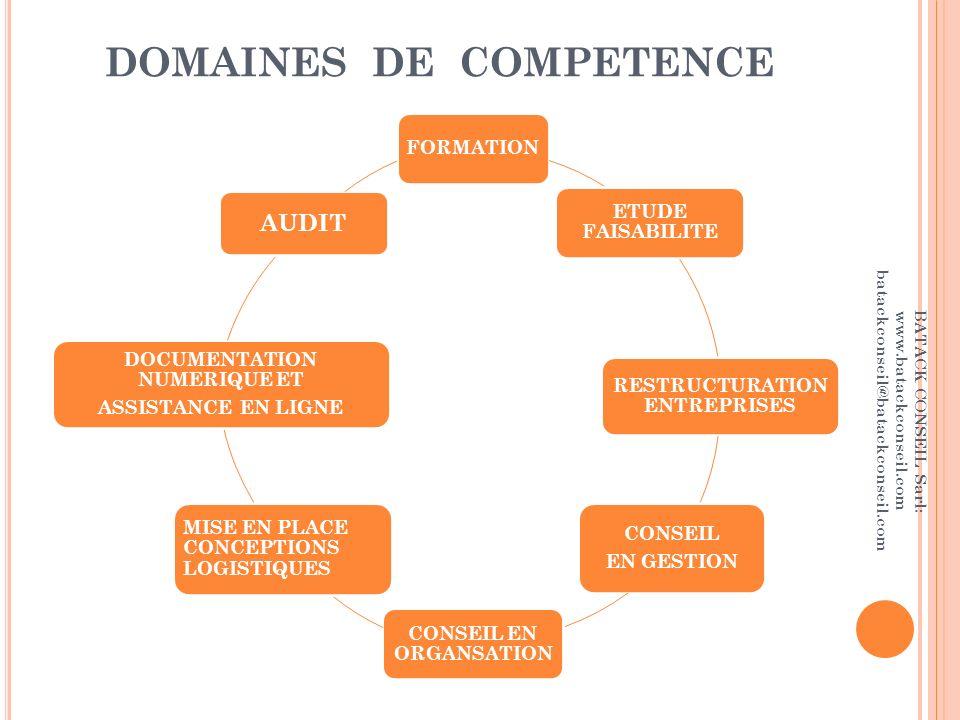 DOMAINES DE COMPETENCE