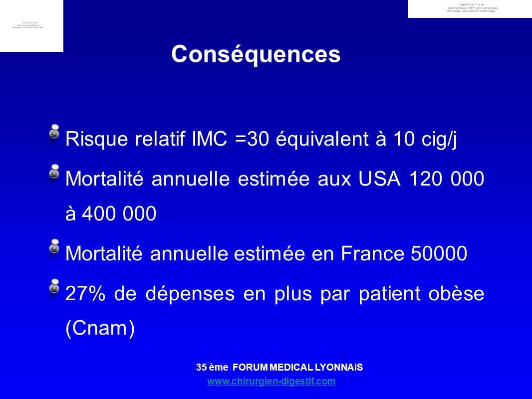Conséquences Risque relatif IMC =30 équivalent à 10 cig/j