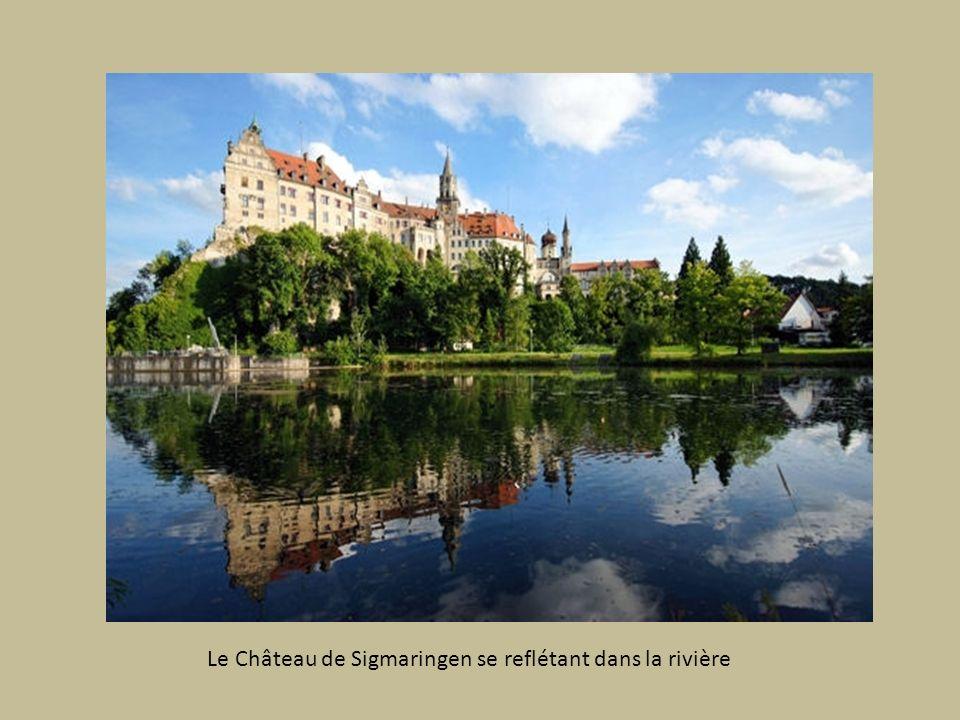 Le Château de Sigmaringen se reflétant dans la rivière