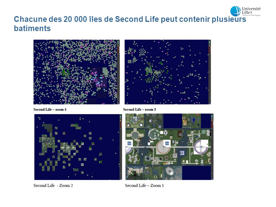 Chacune des 20 000 îles de Second Life peut contenir plusieurs batiments