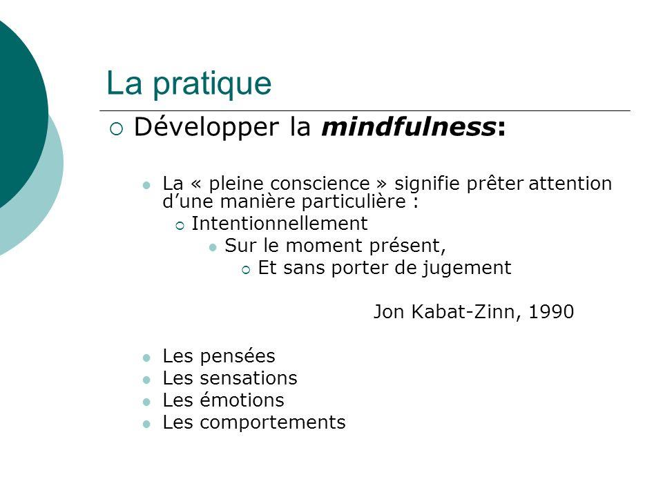 La pratique Développer la mindfulness: