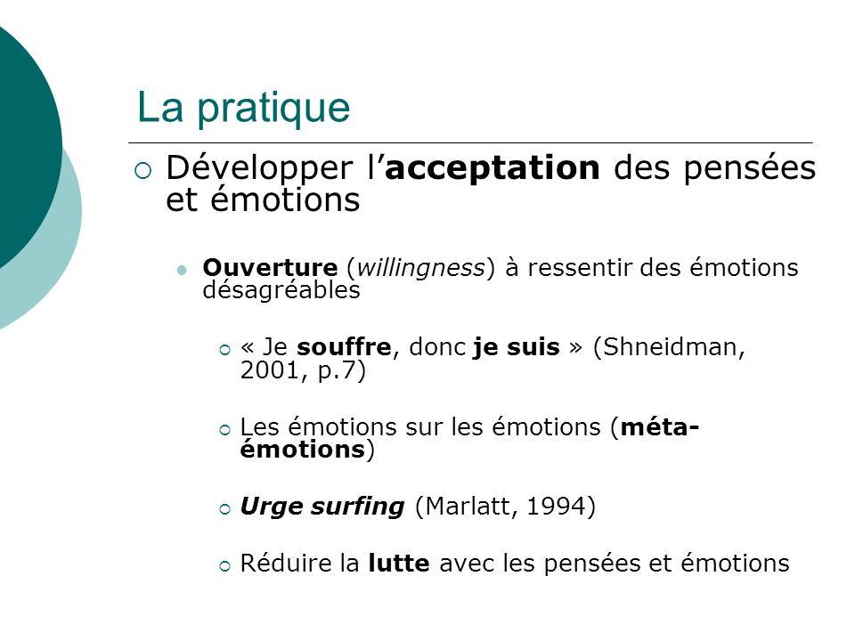 La pratique Développer l'acceptation des pensées et émotions