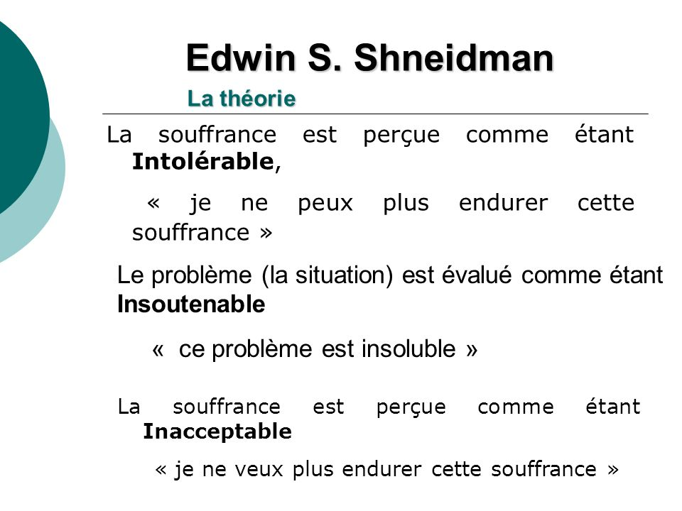Edwin S. Shneidman La théorie. La souffrance est perçue comme étant Intolérable, « je ne peux plus endurer cette souffrance »