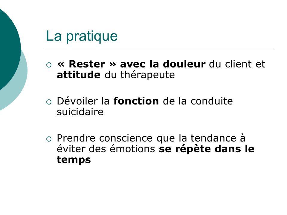 La pratique « Rester » avec la douleur du client et attitude du thérapeute. Dévoiler la fonction de la conduite suicidaire.