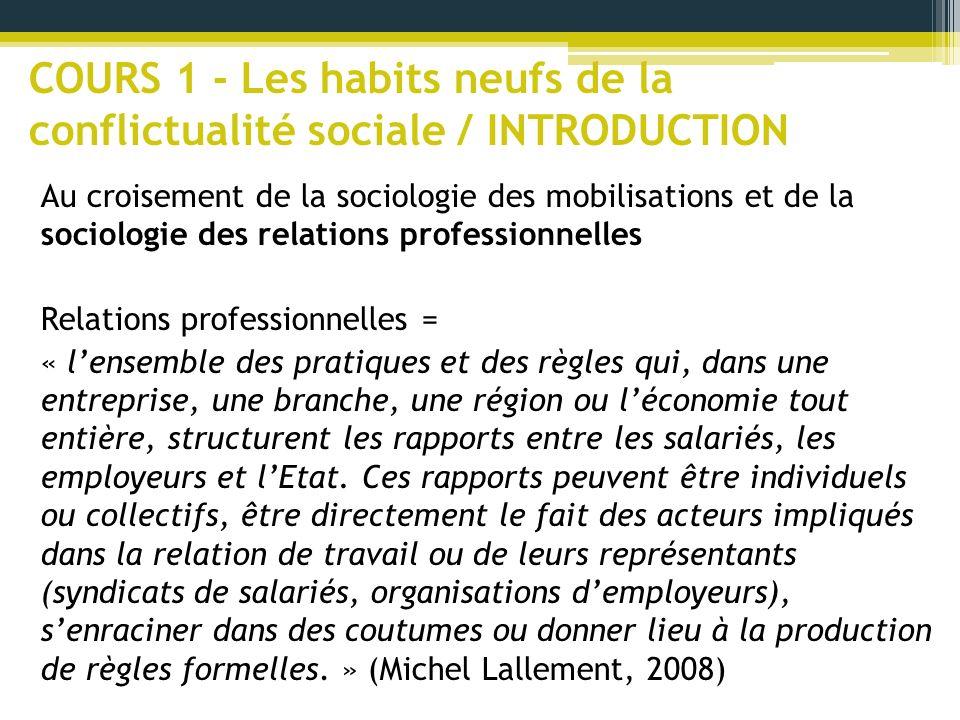 COURS 1 - Les habits neufs de la conflictualité sociale / INTRODUCTION