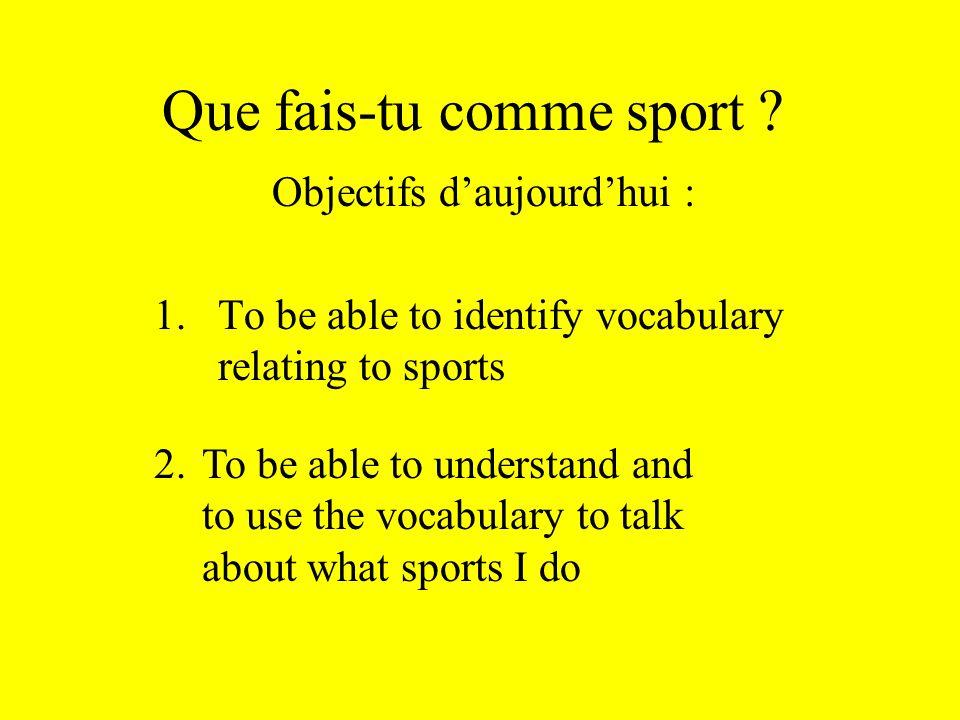 Que fais-tu comme sport