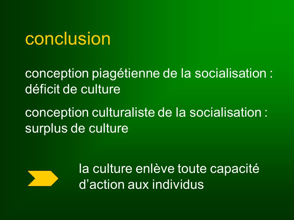 conclusion conception piagétienne de la socialisation : déficit de culture. conception culturaliste de la socialisation : surplus de culture.