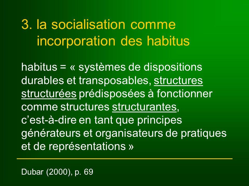 3. la socialisation comme incorporation des habitus