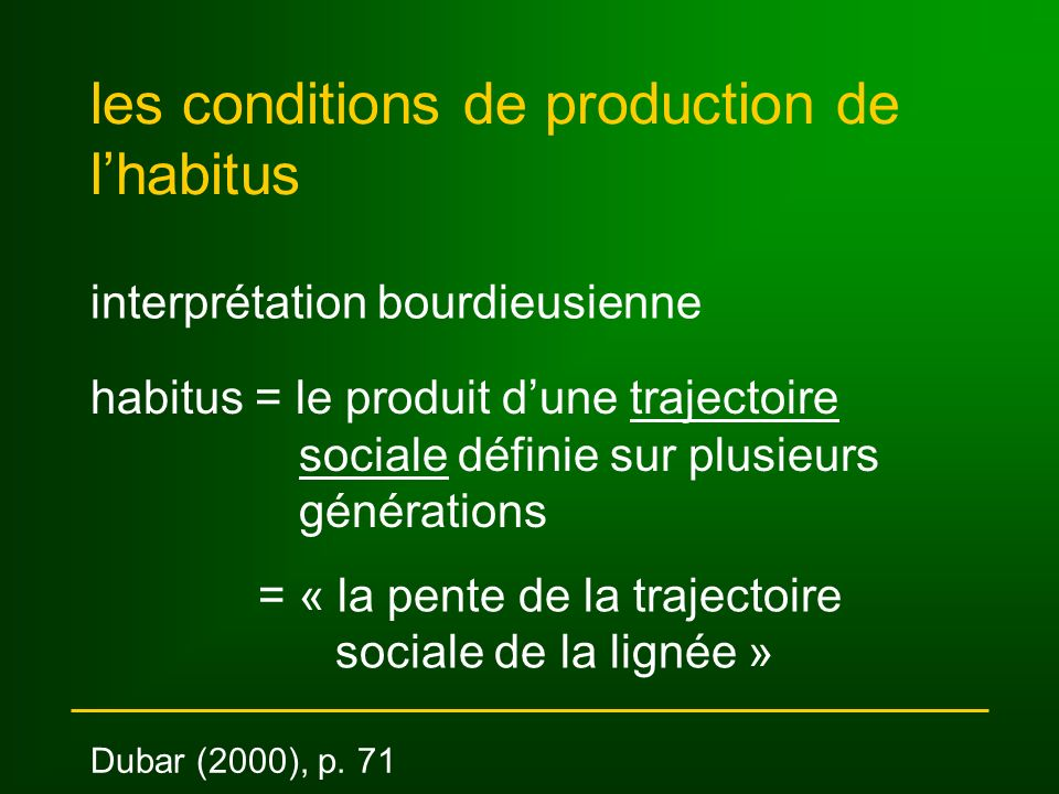 les conditions de production de l'habitus