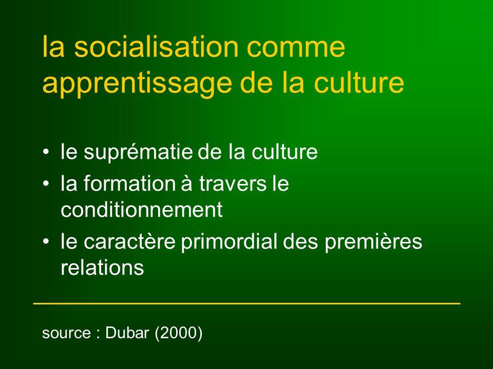 la socialisation comme apprentissage de la culture