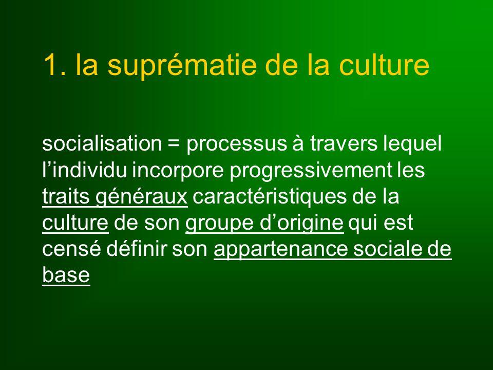 1. la suprématie de la culture