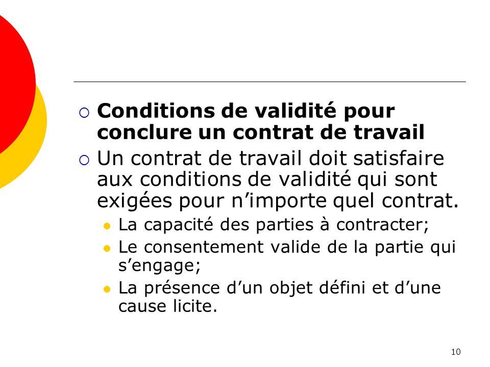Conditions de validité pour conclure un contrat de travail