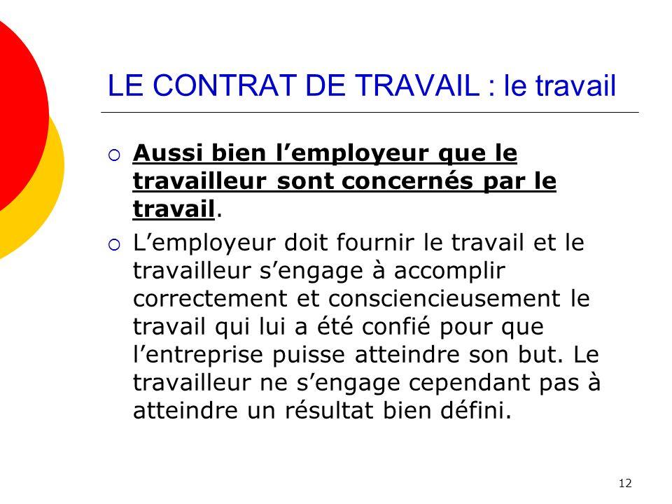 LE CONTRAT DE TRAVAIL : le travail