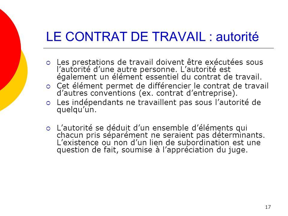 LE CONTRAT DE TRAVAIL : autorité