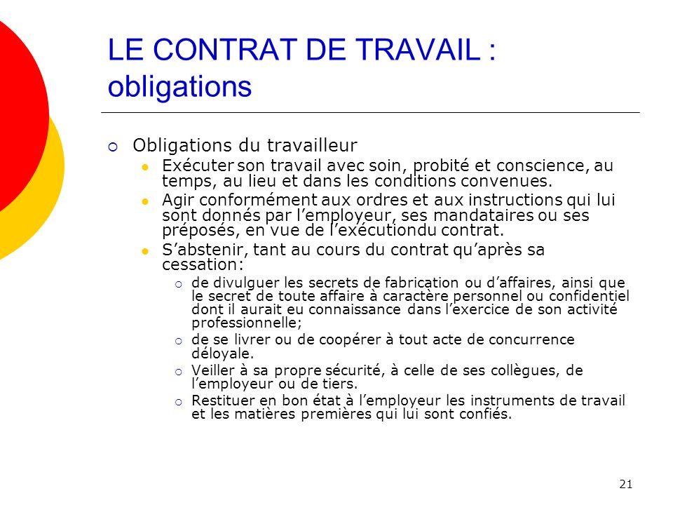 LE CONTRAT DE TRAVAIL : obligations