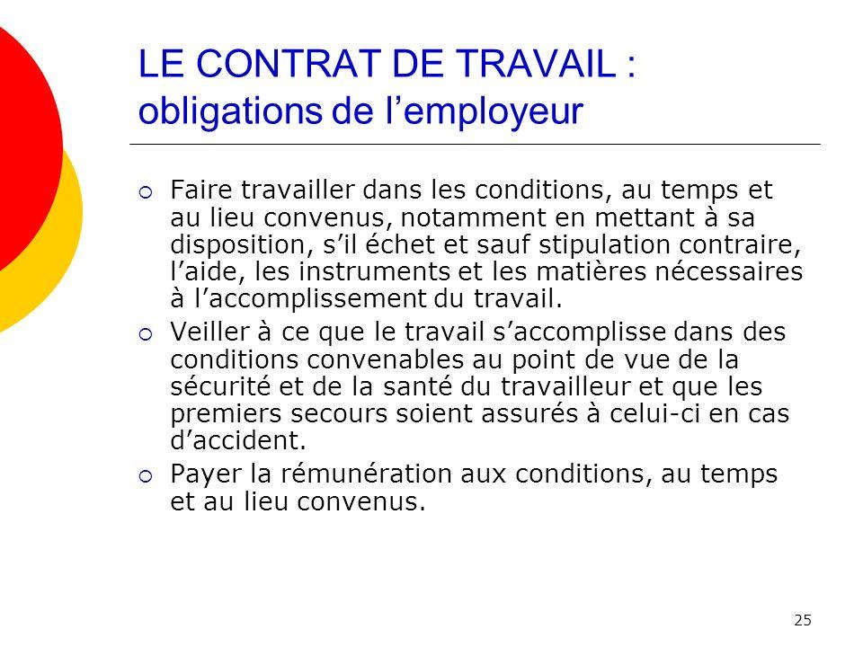 LE CONTRAT DE TRAVAIL : obligations de l'employeur