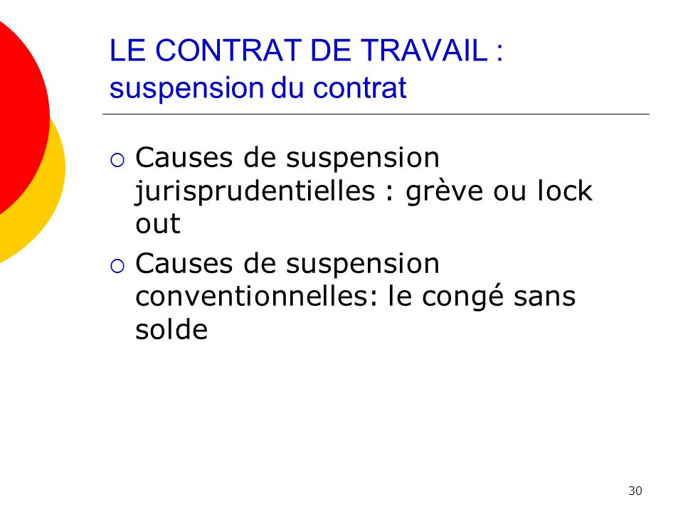 LE CONTRAT DE TRAVAIL : suspension du contrat
