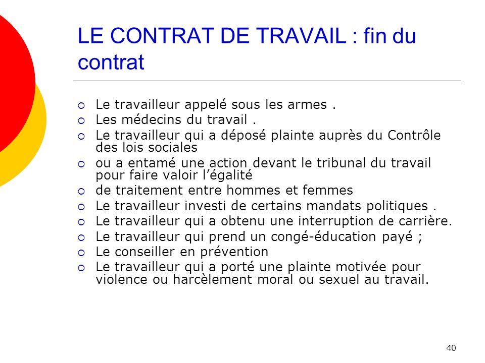 LE CONTRAT DE TRAVAIL : fin du contrat