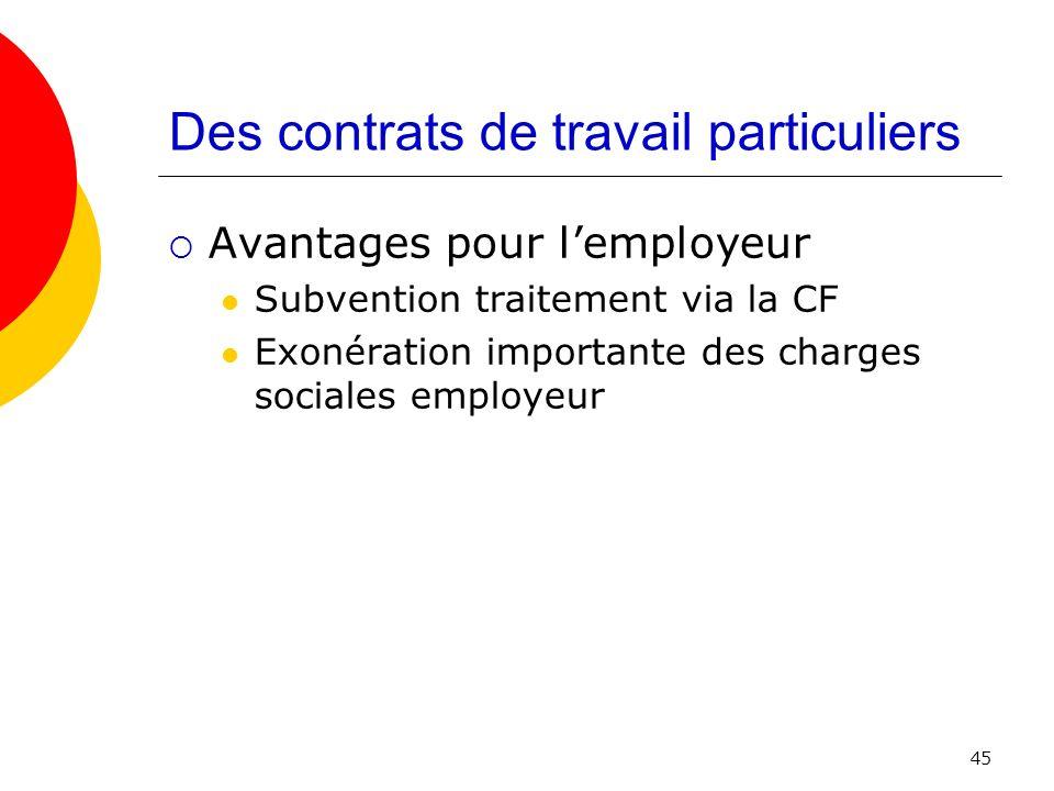 Des contrats de travail particuliers