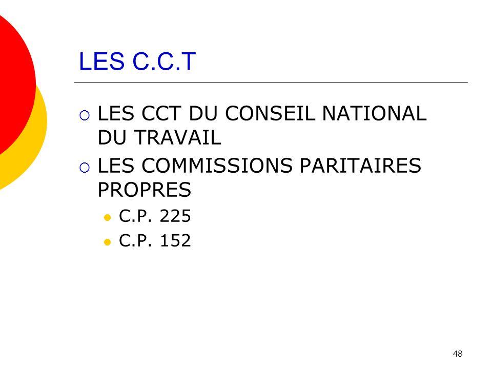 LES C.C.T LES CCT DU CONSEIL NATIONAL DU TRAVAIL