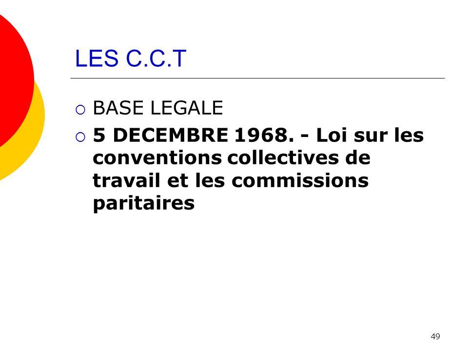LES C.C.T BASE LEGALE. 5 DECEMBRE 1968.