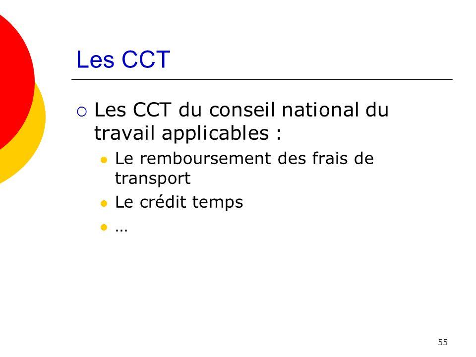 Les CCT Les CCT du conseil national du travail applicables :