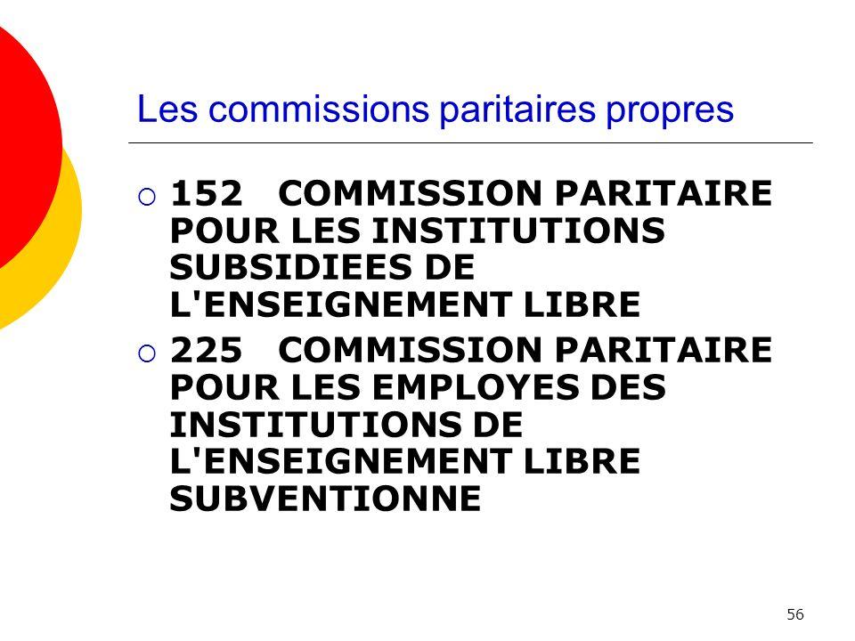 Les commissions paritaires propres