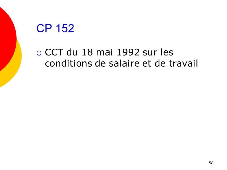 CP 152 CCT du 18 mai 1992 sur les conditions de salaire et de travail