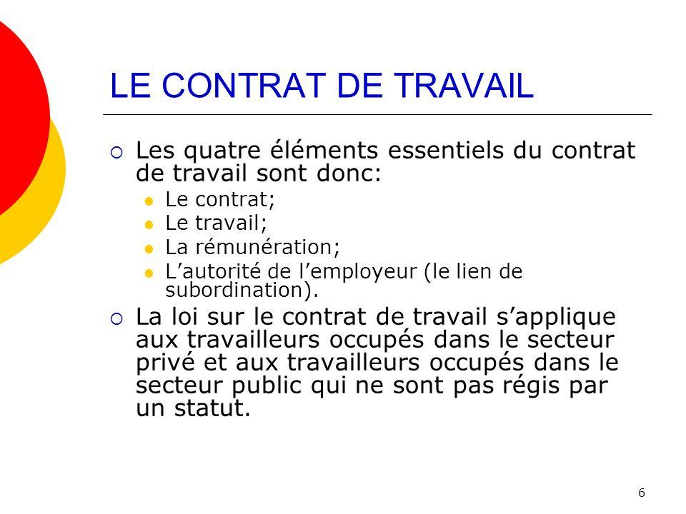 LE CONTRAT DE TRAVAIL Les quatre éléments essentiels du contrat de travail sont donc: Le contrat; Le travail;