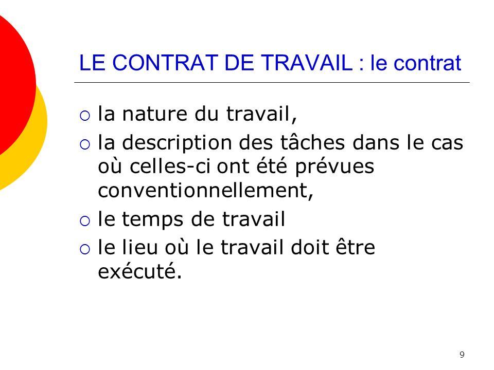 LE CONTRAT DE TRAVAIL : le contrat