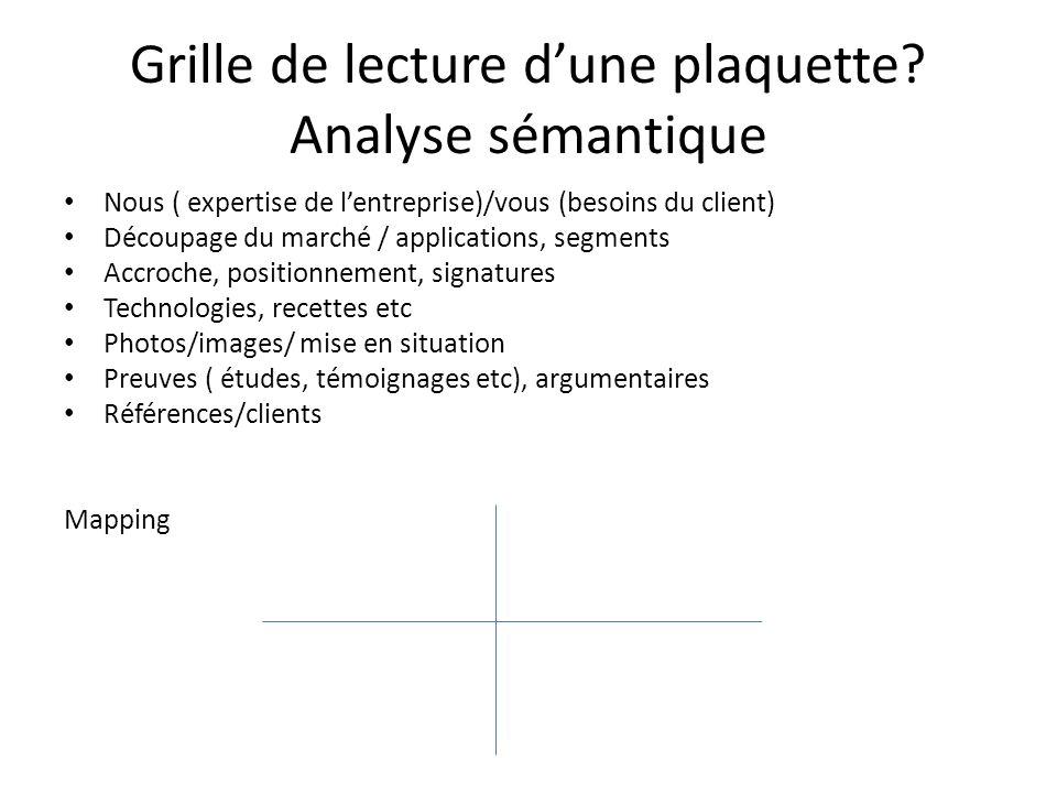 Grille de lecture d'une plaquette Analyse sémantique