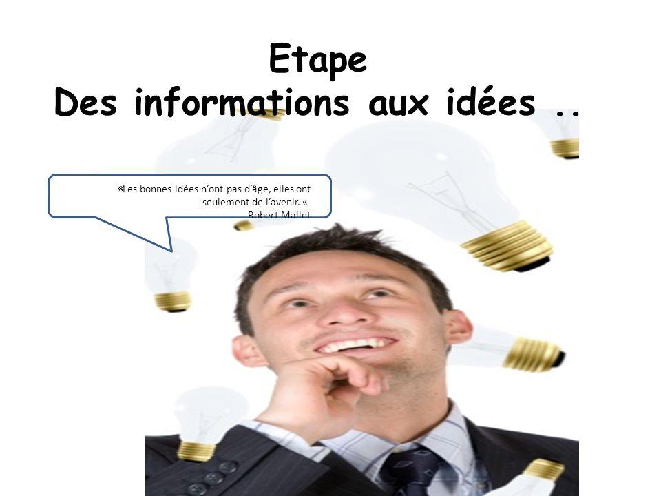Etape Des informations aux idées ..