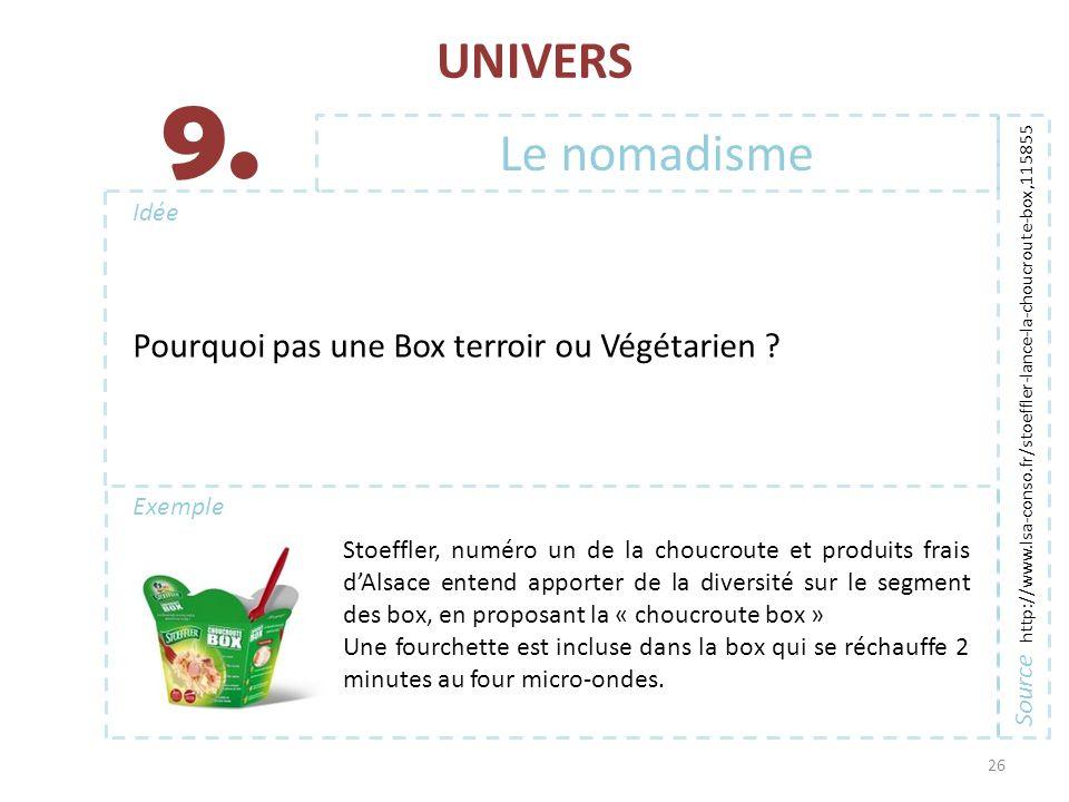 9. UNIVERS Le nomadisme Pourquoi pas une Box terroir ou Végétarien