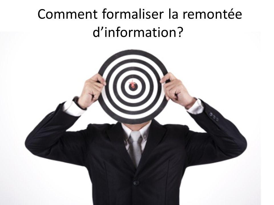 Comment formaliser la remontée d'information
