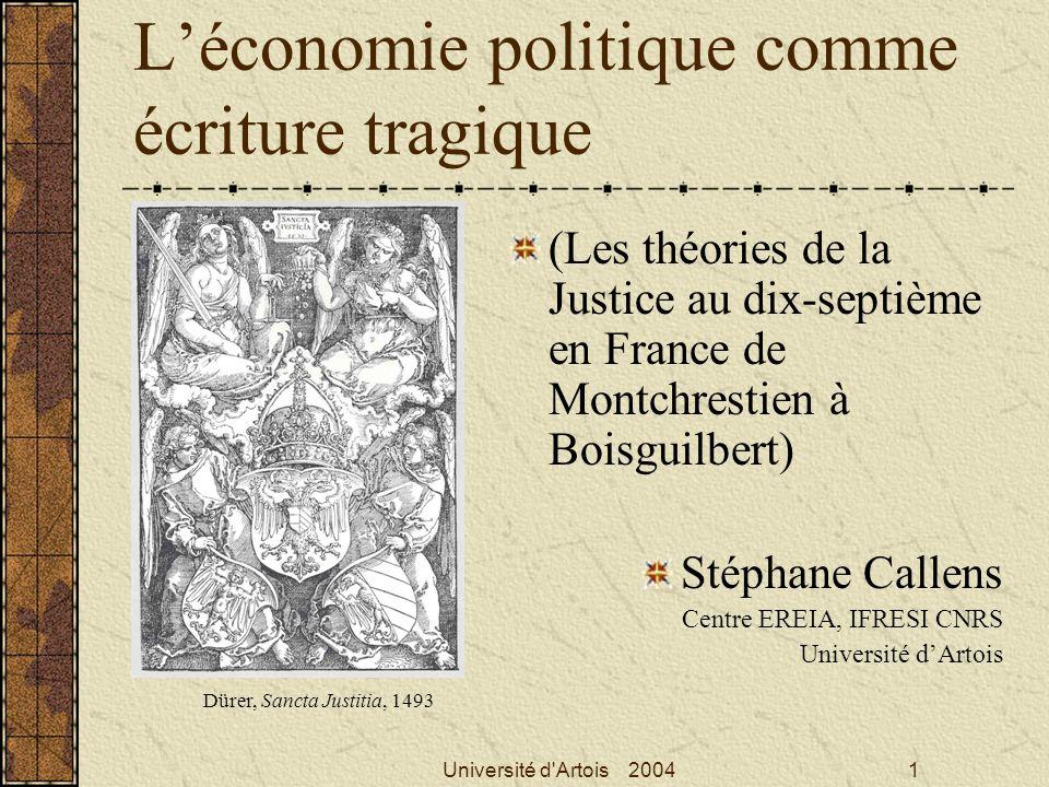 L'économie politique comme écriture tragique