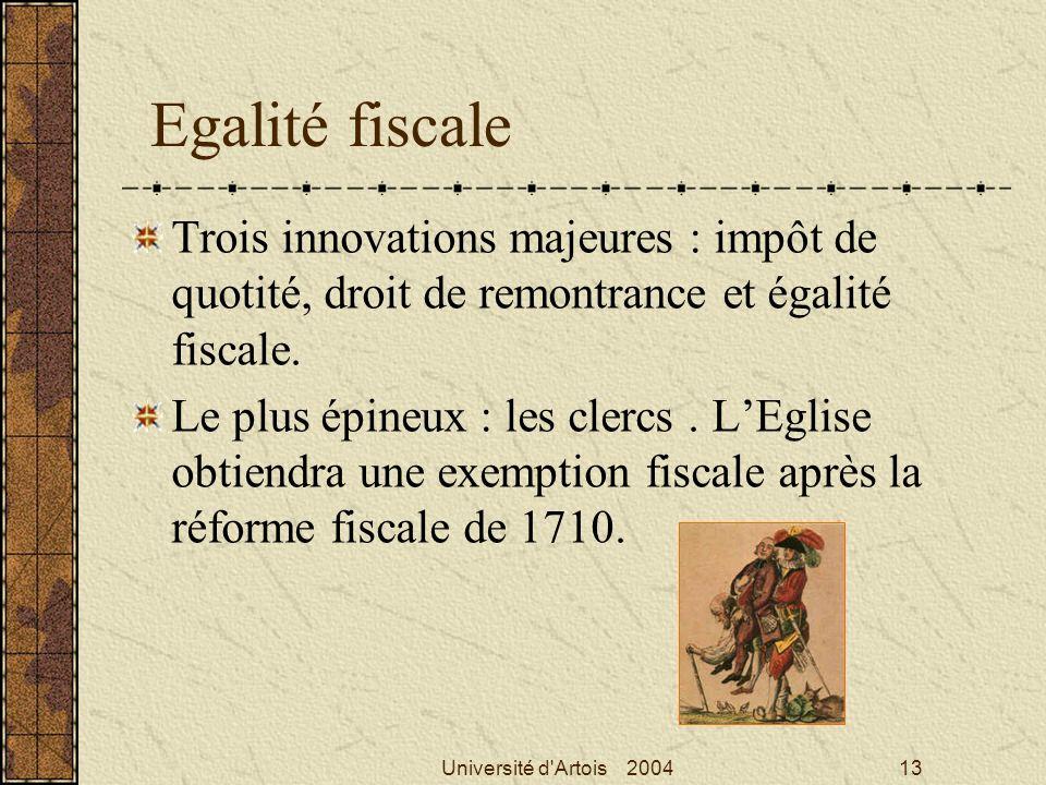 Egalité fiscale Trois innovations majeures : impôt de quotité, droit de remontrance et égalité fiscale.