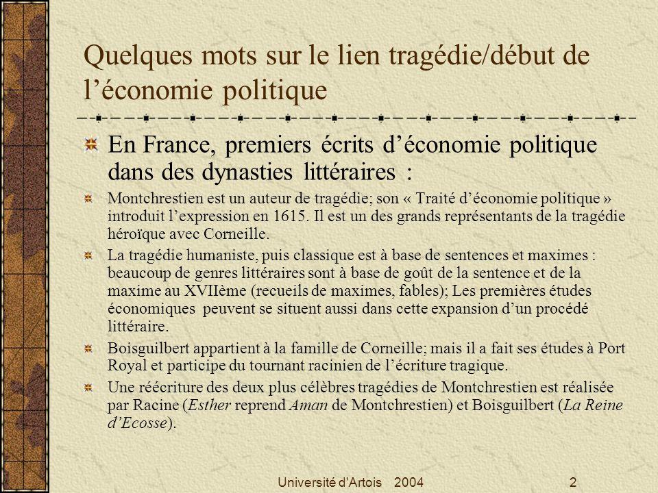 Quelques mots sur le lien tragédie/début de l'économie politique