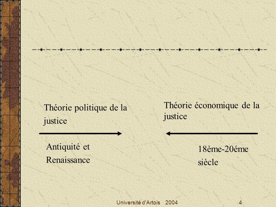 Théorie économique de la justice Théorie politique de la justice