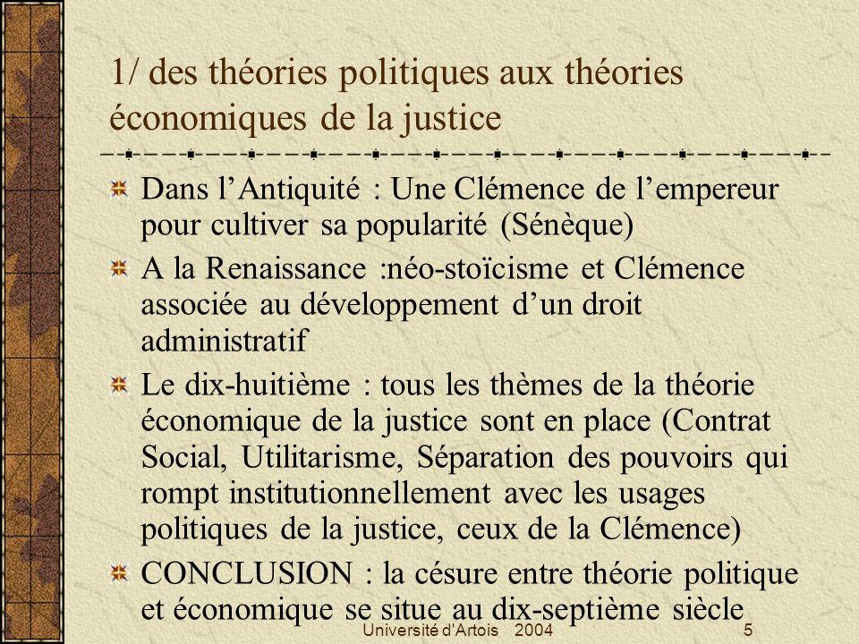 1/ des théories politiques aux théories économiques de la justice