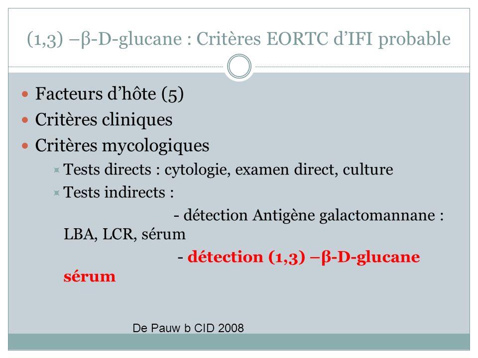 (1,3) –β-D-glucane : Critères EORTC d'IFI probable