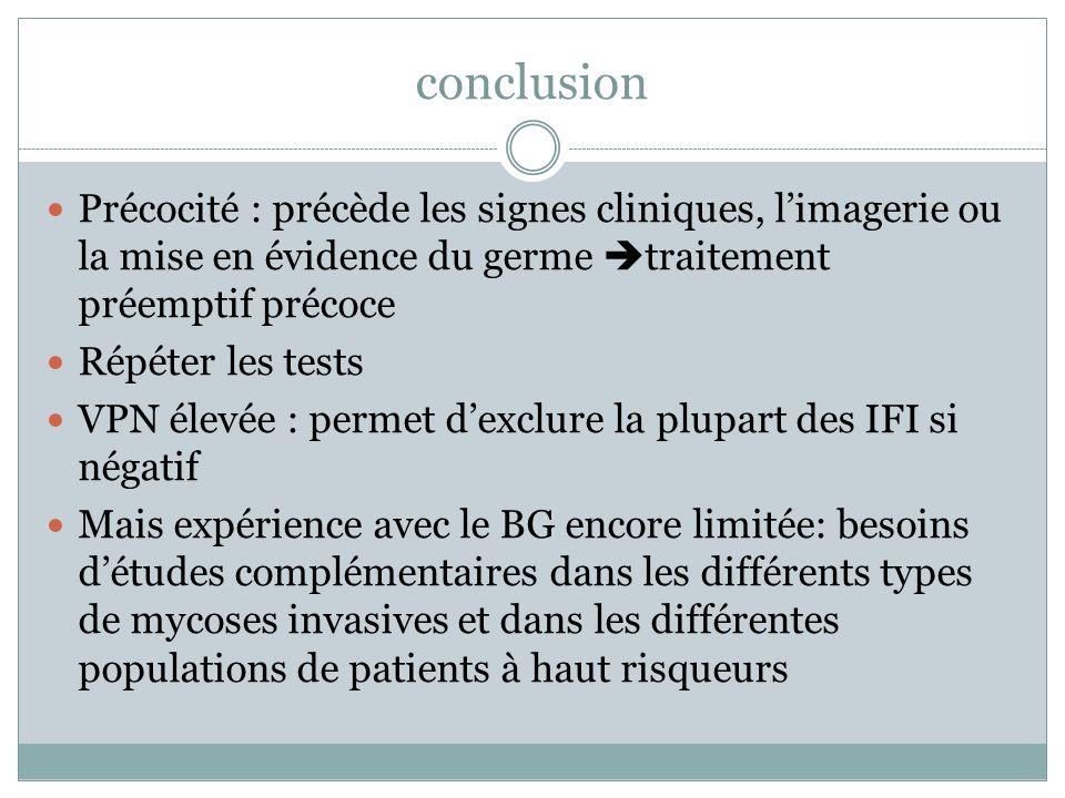 conclusion Précocité : précède les signes cliniques, l'imagerie ou la mise en évidence du germe traitement préemptif précoce.