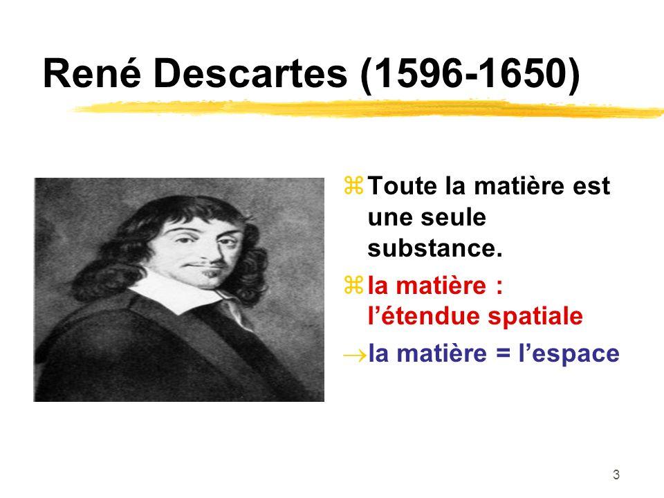 René Descartes (1596-1650) Toute la matière est une seule substance.