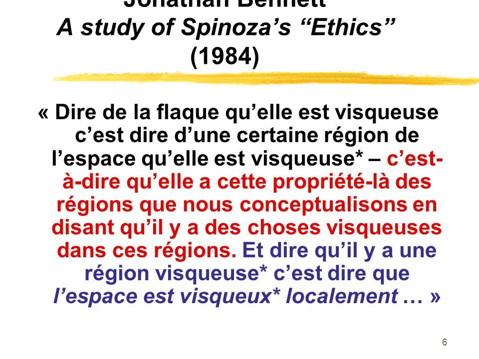 Jonathan Bennett A study of Spinoza's Ethics (1984)