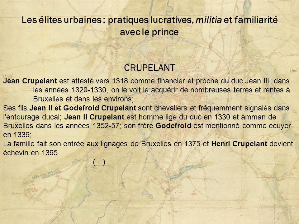Les élites urbaines : pratiques lucratives, militia et familiarité avec le prince CRUPELANT