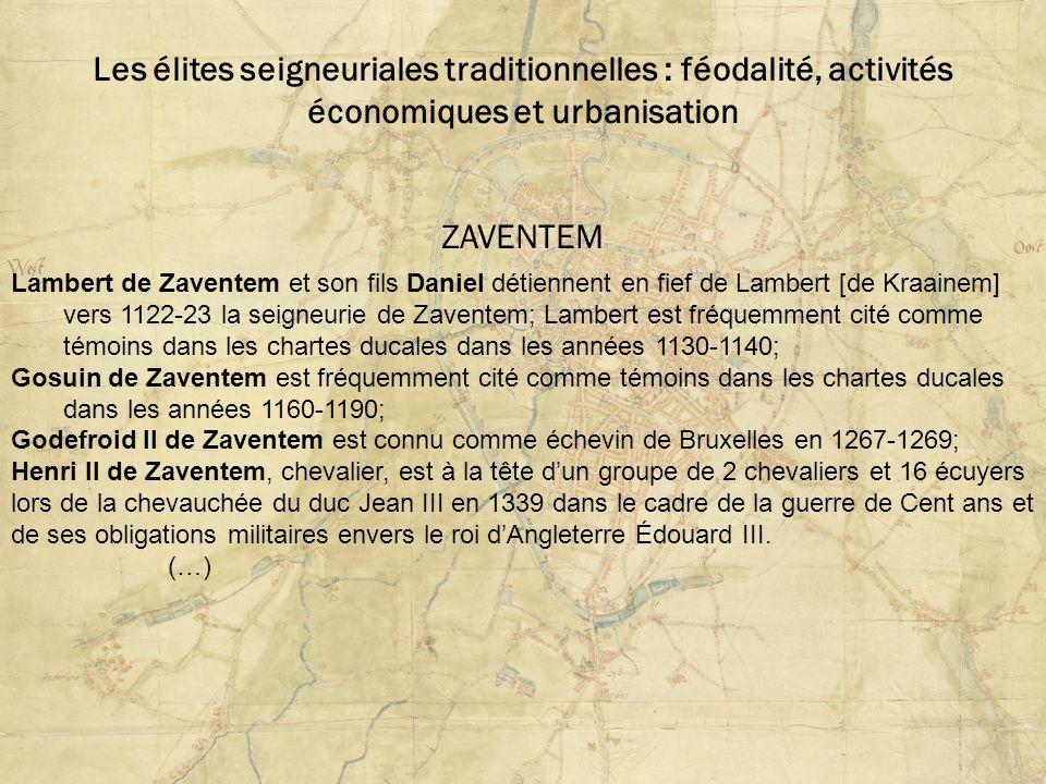 Les élites seigneuriales traditionnelles : féodalité, activités économiques et urbanisation ZAVENTEM