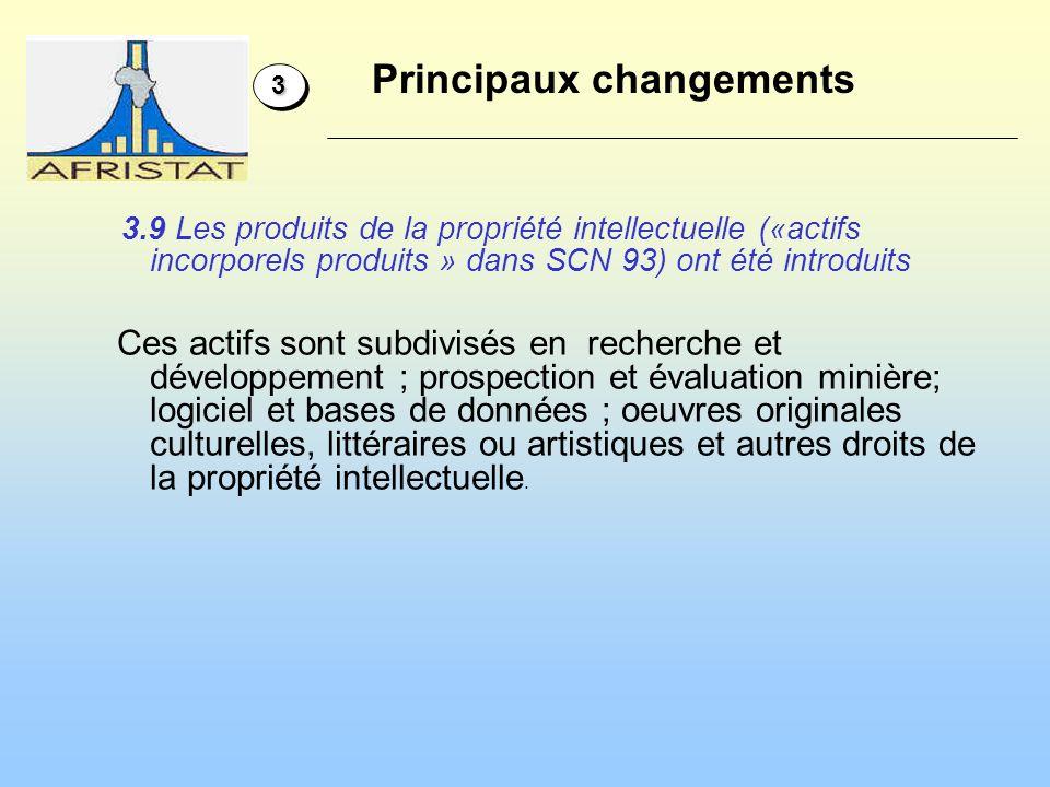 Principaux changements