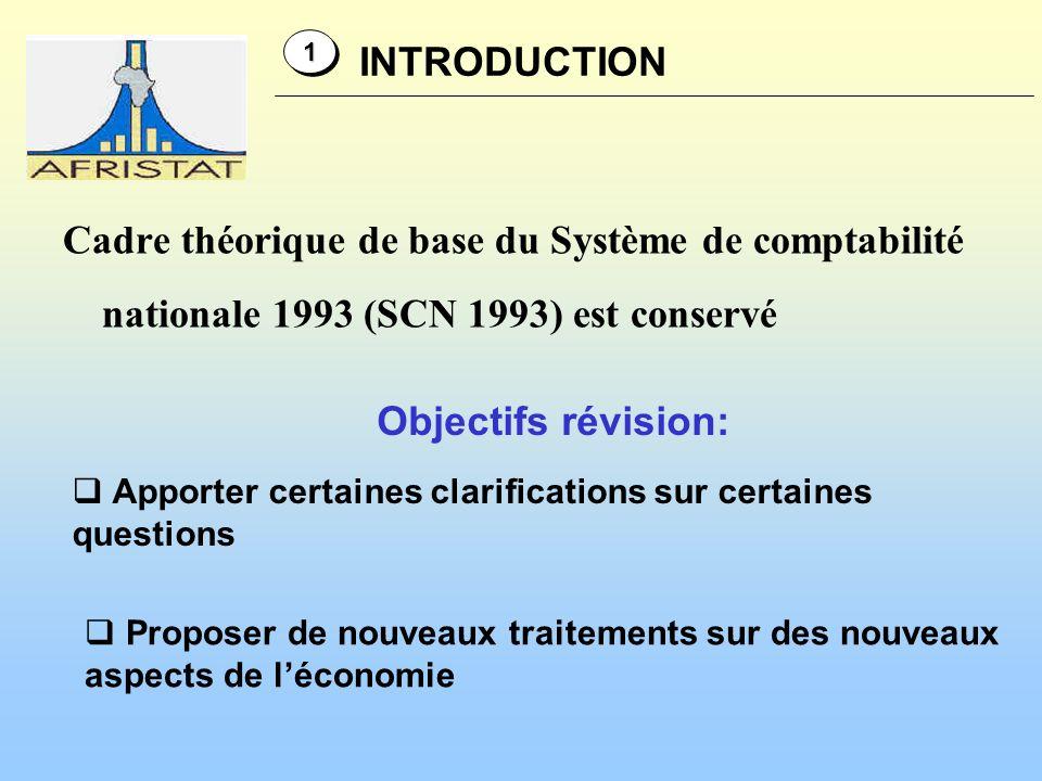 1 INTRODUCTION. Cadre théorique de base du Système de comptabilité nationale 1993 (SCN 1993) est conservé.