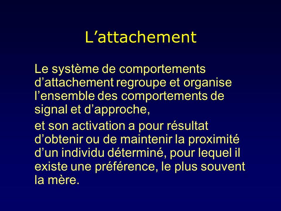 L'attachement Le système de comportements d'attachement regroupe et organise l'ensemble des comportements de signal et d'approche,