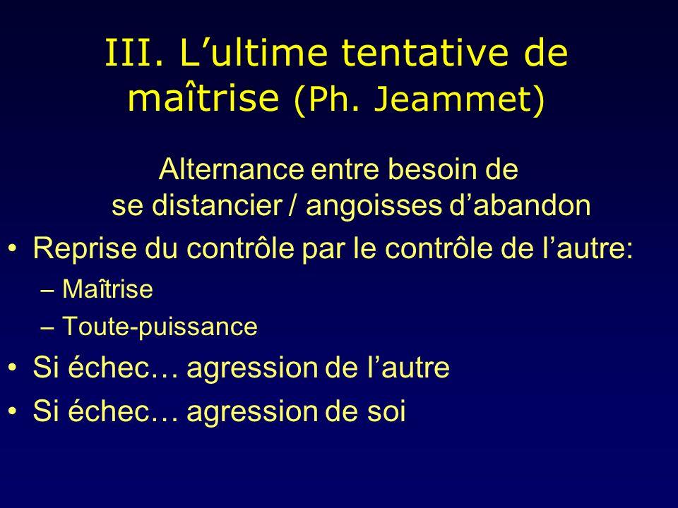 III. L'ultime tentative de maîtrise (Ph. Jeammet)