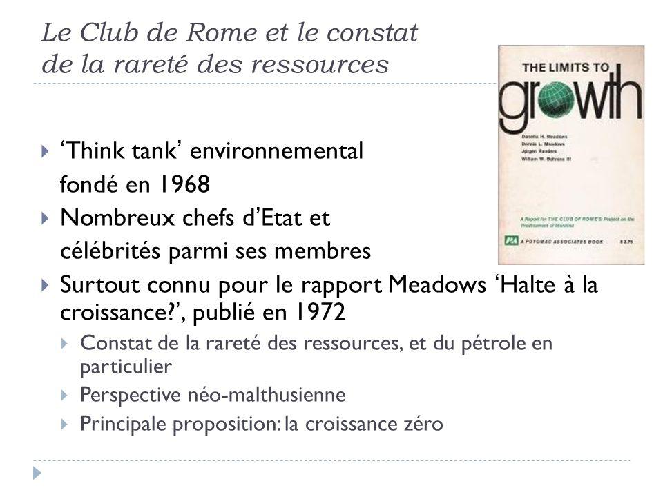 Le Club de Rome et le constat de la rareté des ressources
